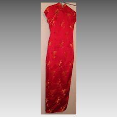 Chinese..SUZY WONG.. Silk Satin Long Fitted Dress With Gold Brocade Chinese Birds..Hand Finished..Fully Lined...Excellent Condition