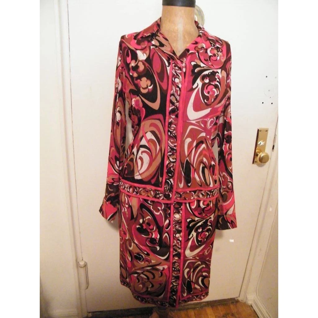 7a1172ca26 1960's ..EMILIO PUCCI..2 Piece Dress..Silk Blouse..Wool Skirt..Red / :  Lisa's Vintage Treasures   Ruby Lane