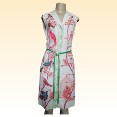 Bernardo 1960's Dress Screen Printed Birds Perched On blooming Branches With Bird Cages On Opposite Side..Size 8