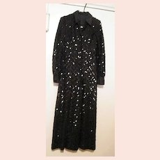Very Elegant Black Sequin & Ribbon Shirt Dress Bodice With Palazzo Pants..Satin Trim