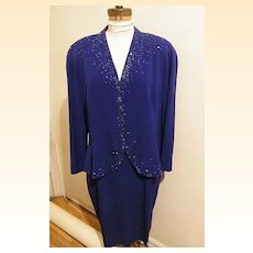 Daymor Of Canada...Blue Rayon Formal Dress With Beads...Size 18..Excellent Condition