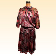 Diane Fres Crinkle Satin Fabric Mix Of 3 Prints....Polyester Georgette Gypsy Dress..Hong Kong..Size S/L