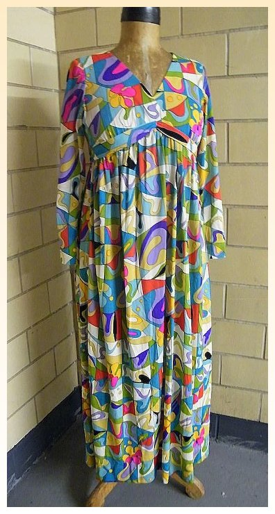 1960 S Emilio Pucci Style Abstract Print Dress V Neck Empire