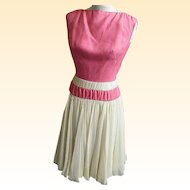 ESTEVEZ Formal Dress 1950's..Pastel Beige Silk Crepe Chiffon With Rose Silk Bodice..Size 10..Excellent Vintage Condition