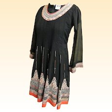 Ethnic..Eastern..Bohemian..Hippie Short Dress Circle Skirt..Sheer..Lined..Crinkle Fabric..Small