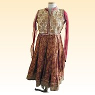 Ethnic Rust Brocade Dress With Long Sheer Sleeves...Small