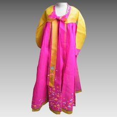 Korean Ceremonial Dress..Silk Organza..Hand-Painted Floral Accent..Designer