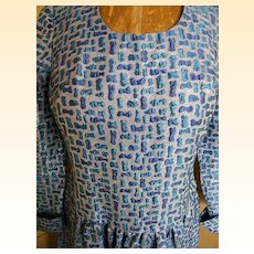 Aqua & Turquoise Lurex Geometric Matelasse Dress / Gown.. Long Sleeves & Dropped Waist..1970's