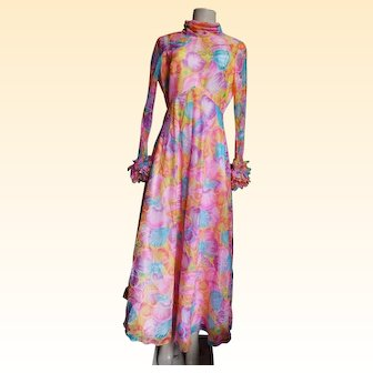 Maxi 1970's Opp Art Floral Sheer Organdy Chiffon..Cowel Neck..Long Fitted Sleeves..Empire Waist..Fitted Waist..Wide Skirt..Lined
