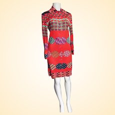 Paganne By Gene Berk...Fine Cotton Knit Straight Cut Button Down Dress With long Sleeves..Red Ground Small Floral Print..1970's..Size 8