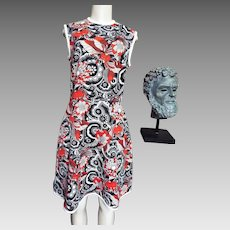 1960's Sleeveless Polyester Crepe Double Knit...Floral Paisley..Black/White/Red/Beige..White Piped Trim..USA