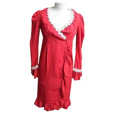 Red Wool Crepe Wrap Dress..Paige Morton Black..Chock Full o'Nuts Jingle Gal