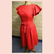 DESIGNER Specialty Store..Mary Jane Denzer..Red 1970's's Dropped Waist Linen-Like Dress..Butterfly Sleeves..NEW Condition