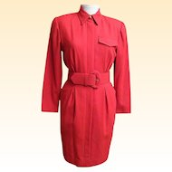 Red Wool Crepe Dress With Tags..By Oberon..Size 6..USA