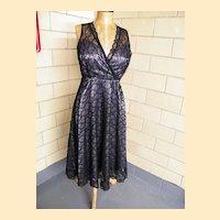 Black Lace Slip Dress By Laura Ashley..Excellent Condition!