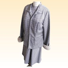Women's Size Dress / Suit With American Lamb Trim Cuffs..Grey / White Geometric Double Knit..Lane Brylant..1960's-70's..NOS..Lane Bryant..Size Extra Large Women's