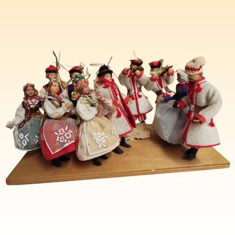 Polish Folk Dolls..Cracow Region Wedding..Mounted On Board..Signed BENZA..Hand Made Costumes & Hand Painted Faces & Shoes
