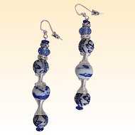 "Chinese Blue Porcelain Drop / Dangle Earrings...Artisan..3"" Drop"