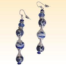 "Chinese Blue Porcelain Drop / Dangle Earrings...Artisan..3"" Drop"