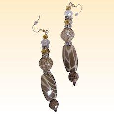 "Camouflage Porcelain & Novelty Glass Beaded Drop / Dangle Earrings...3.25"" Drop"