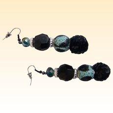 "Artisan Dangle / Drop Earrings..Black Jet, Aqua & Black Animal Spots, & Black Sequin Ball..2.75"""