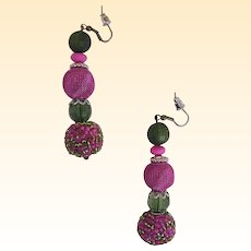 "HOT PINK Mixed Bead Drop / Dangle Earrings..Accent Beads Green..2.75"" Drop"