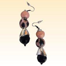 "Pale Pink & Coral / Black Animal Spots With Jet....Drop / Dangle Earrings...2.5"" Drop"