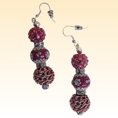 "Shades of Rose Novelty Beads...Dangle Earrings...2.25"" Drop"