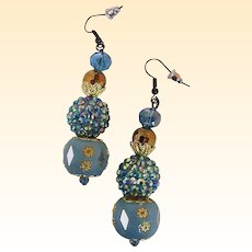 "Earrings...Drop...Turquoise Mix Bead...Enamel With Gold-Tone Filigree, AB Bead Cluster, & Glass Beads..2.5"" Drop"