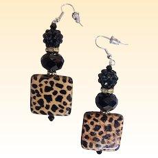 "Leopard Square Porcelain Bead With 2 Novelty Black Jet Drop / Dangle Earrings...2"" Drop"