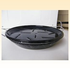 Enamelware SWIRL / Confetti.. 2-Piece Broil Pan..Black With White Swirl..1950's..NOS