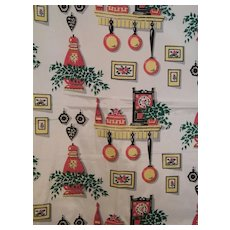 Vintage..40's-50's Acetate Taffeta Fabric With Kitchen Motifs Print..2 Pieces..New Condition