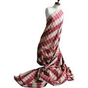 Silk Taffeta Woven Wine & Beige Plaid...Good for Both Home & Dress...Designer Quality