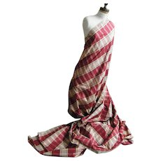 Silk Taffeta Woven Wine & Beige Plaid...Good for Both Home & Dress...Designer Quality