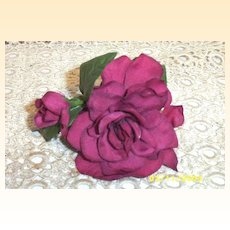 Rose With Bud Soft Deep Magenta Silk Like Millinery Flower