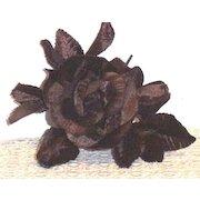Vintage Brown  Velvet  Large Millinery Rose, Bud, And Leaves