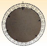 "Medium Size Round Wrought Iron Mirror Or Picture Frame....Mid Century Spanish...22"" Round"