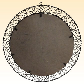 "Medium Size Round Wrought Iron Mirror Or Picture Frame....Mid Century Spanish...22"" Round"