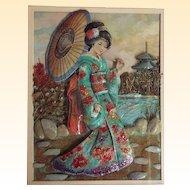 Japanese Geisha Girl Shadow Box Hand Decorated Paper Doll With Real Dried Shrubbery & Rock Background