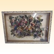 French Silk Floral Collage..Silk, Velvet, Wool Yarn, & Silk Yarn..Butterfly Center..Shadow Box Framed..