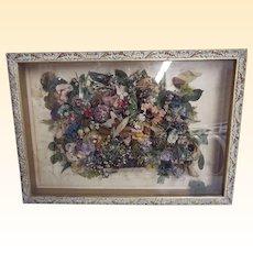 French Silk Floral Collage..Silk, Velvet, Wool Yarn, & Silk Yarn..Butterfly Center..Shadow Box Framed..
