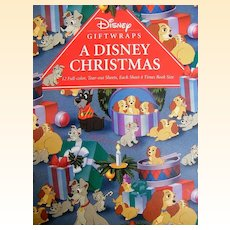 Disney Giftwrap Book...A Disney Christmas..6 Designs..12 Sheets..Never Used