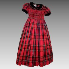 BEST & CO. Red Tartan Plaid Silk Taffeta Polly Flinders Smocked Child's Dress With Velvet Trim.. Size 10