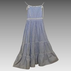 Girl's Sundress Size 10..Blue Cotton Linen Printed..Scattered Little White Hearts On Blue Ground..Multi-Tiered..Crochet Trim
