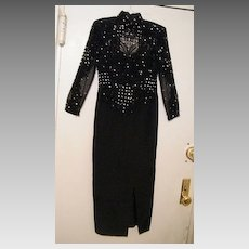 Designer Hand Jet Beaded Gown From Seena's..Silk Fine Faille..Straight Cut..Long Sleeves..Size Small..Worn Once