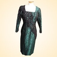 Green & Black Beaded Silk Brocade Sheath  Gown By Custom Stagewear Couture Designer Lorraine Ruggieri