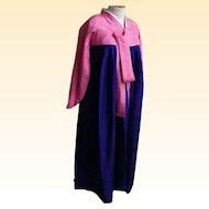 Korean Ceremonial Dress / Gown..Silk Damask..Eggplant Gown / Dusty Rose Bolero..Designer Made..Excellent Condition!