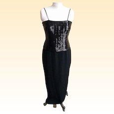 Stylized Tuxedo Gown / Jacket..Black..Buggle Beads..Crepe..Daymor Couture..Size 6..Excellent Condition