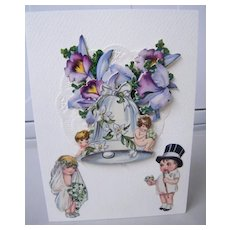Vintage Layered WEDDING Collage Greeting Card..Wedding Bell..Cherubs..Orchids..Mint