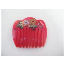 Japanese Hair Ornament..Side Comb..Hand Painted..Red..Lucite..3 Designs..NOS..1970's-80's..3 Available
